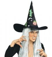 Witch Hat With GID Bats & White Hair (5168)